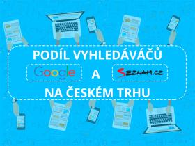 Podiel vyhľadávačov Google a Seznam.cz na českom internete