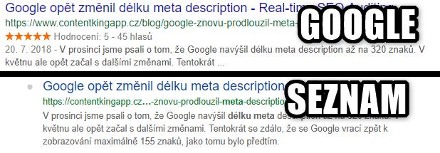 Meta descriptions: Google vs Seznam